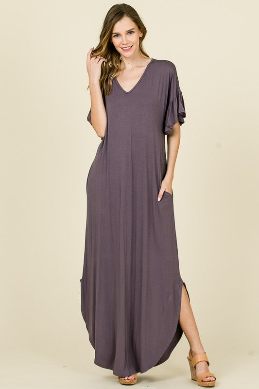 Buy Solid Maxi Tee Dress Purple online at Southern Fashion Boutique Bliss
