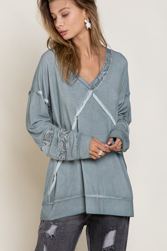 Buy Long Sleeve Oversized V-Neck Top Blue Grey online at Southern Fashion Boutique Bliss