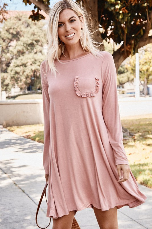 Buy Solid Tee Dress with Ruffle Pocket Mauve online at Southern Fashion Boutique Bliss