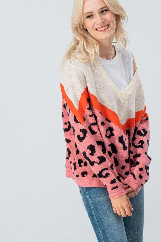 Wide Neck Color Block Sweater Ivory/Coral - Athens Georgia Women's Fashion Boutique