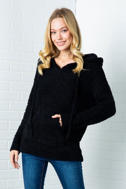 Fuzzy Hoodie Kangaroo Pocket Sweater Black