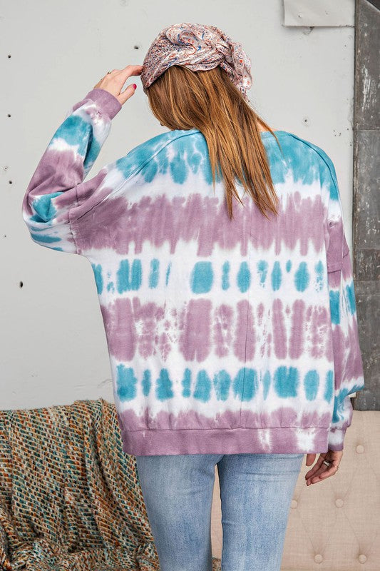 Ombre Dye Terry Knit Top Mauve Teal