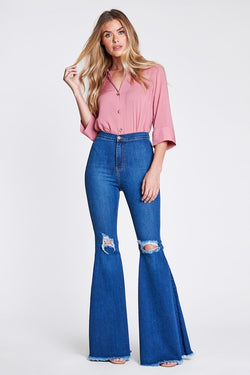 Knee Ripped Flare Jeans Medium Denim