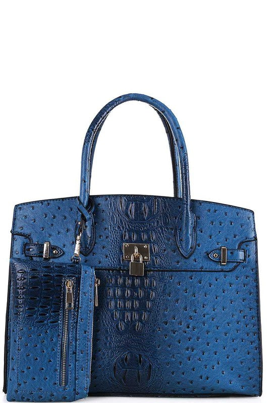 Smooth Textured Leather Bag Purse Blue