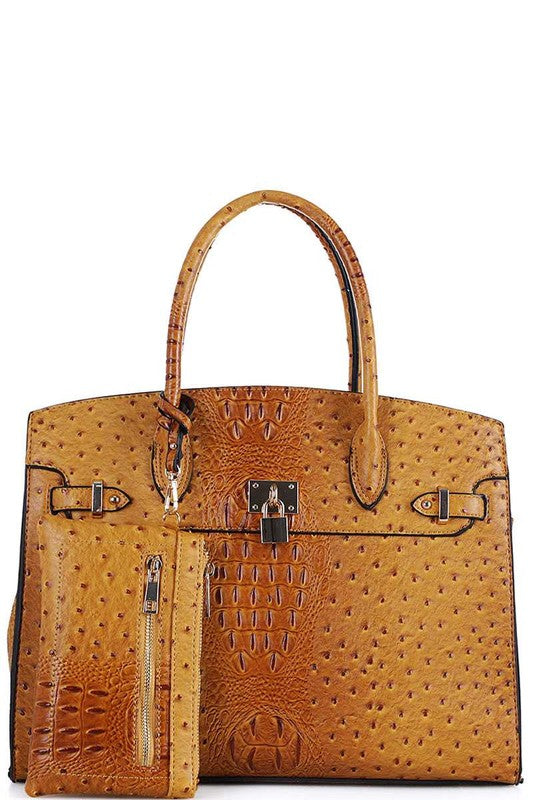 Smooth Textured Leather Bag Purse Mustard