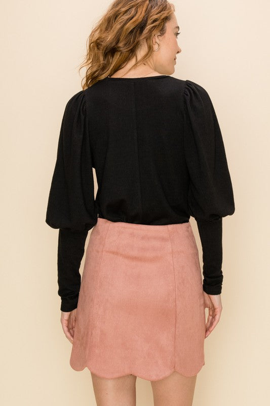 Puff Sleeve Detail Top Black