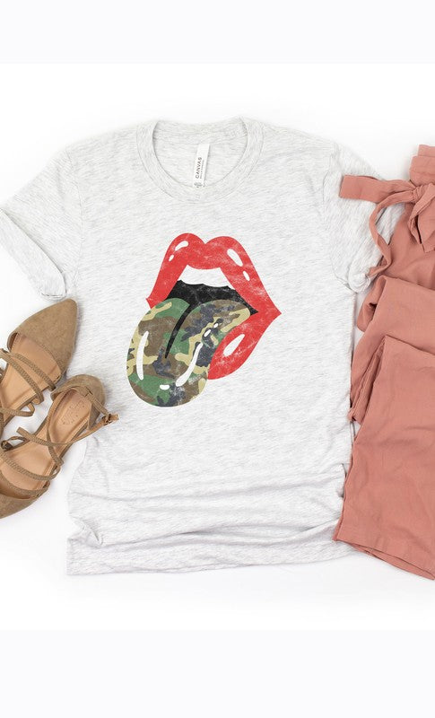Buy Camo Print Rock & Roll Tongue Tee Gray online at Southern Fashion Boutique Bliss