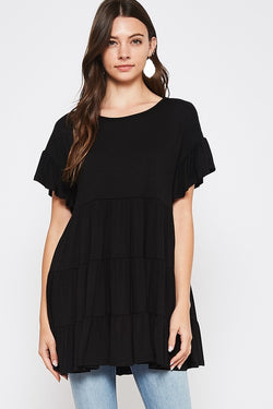 Solid Baby Doll Tunic Top Black