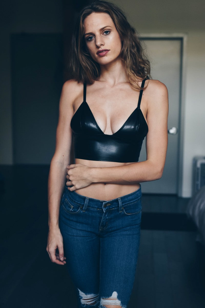 Buy Faux Leather Long Line Bralette Black online at Southern Fashion Boutique Bliss