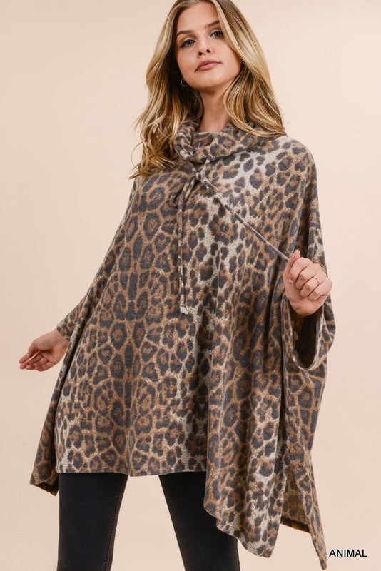 Buy Leopard Print Cowl Neck Poncho Top online at Southern Fashion Boutique Bliss