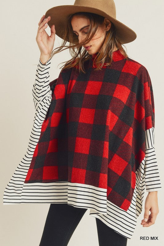 Checkered Mock Neck Poncho Top Red
