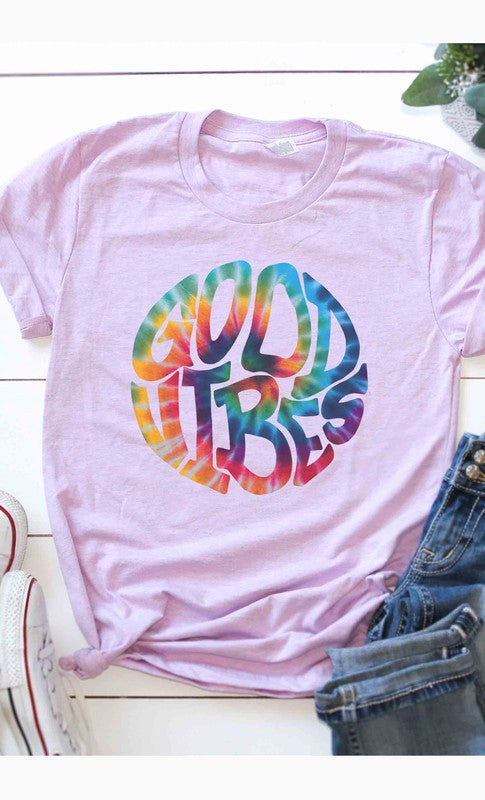 Buy Good Vibes Tie-Dye Graphic Tee Lilac online at Southern Fashion Boutique Bliss