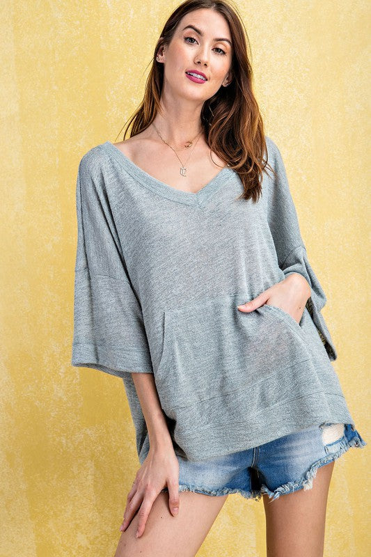 Light Knit Boxy Top Olive