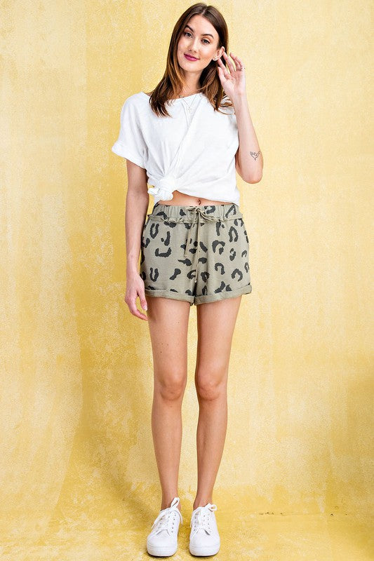 Animal Print French Terry Knit Shorts Sage Grey