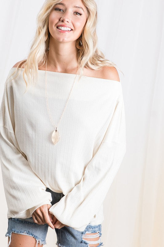 Off Shoulder Solid Boxy Top Cream