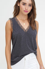 Buy Two Tone Jersey V-Neck Sleeveless Top Charcoal online at Southern Fashion Boutique Bliss