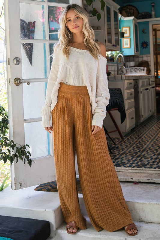 Wide Leg Solid Pants Camel
