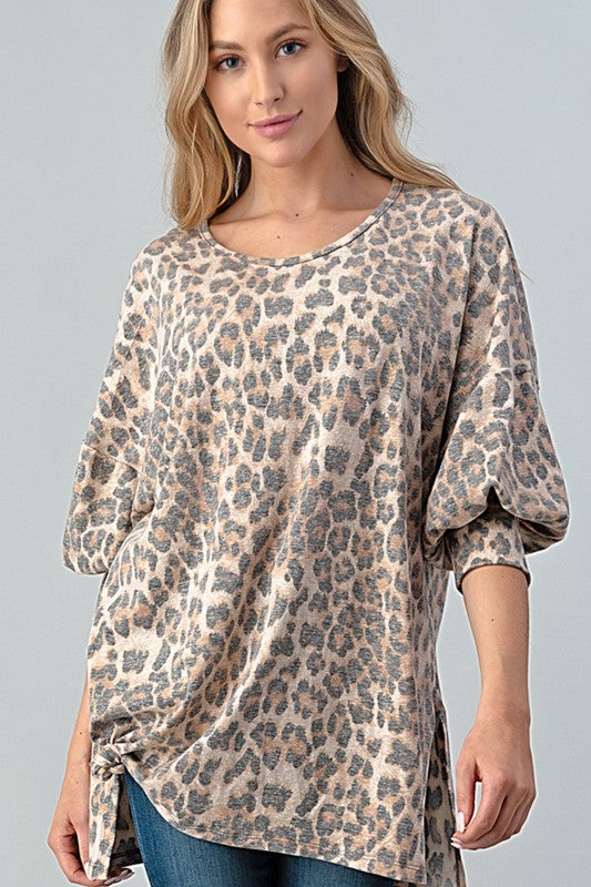 Buy Vintage Leopard Print Puff Sleeve Tunic Top online at Southern Fashion Boutique Bliss