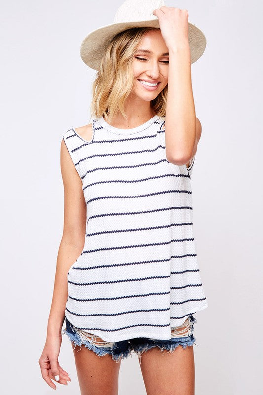 Buy Striped Knit Cut Out Tank Top Off White/Navy online at Southern Fashion Boutique Bliss