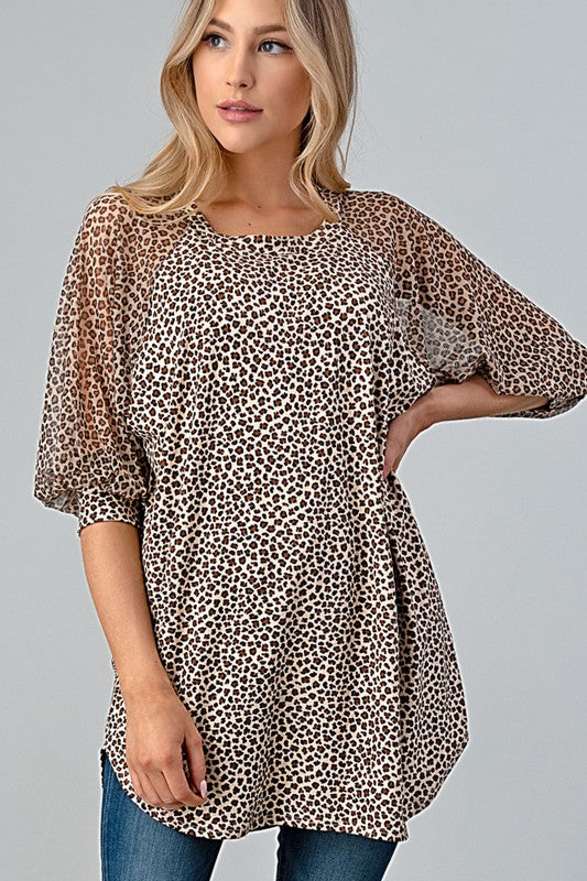 Leopard Mesh Sleeve Combo Tunic Top Taupe