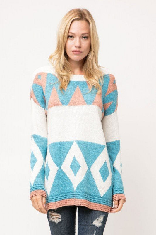 Buy Geometric Knit Color Block Sweater Off White online at Southern Fashion Boutique Bliss