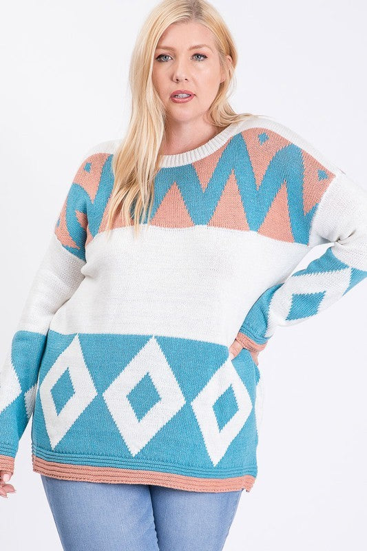 Off White Geometric Knit Color Block Sweater