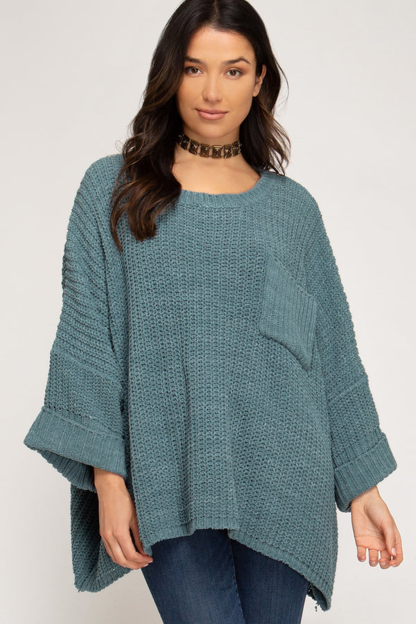 Buy Chenille Knit Sweater w/Pocket Slate online at Southern Fashion Boutique Bliss