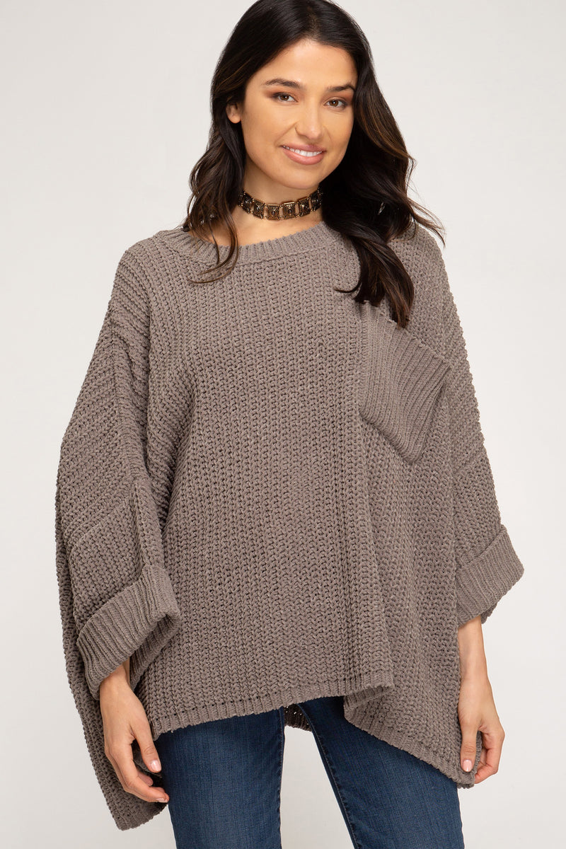 Buy Chenille Knit Sweater w/Pocket Mocha Grey online at Southern Fashion Boutique Bliss