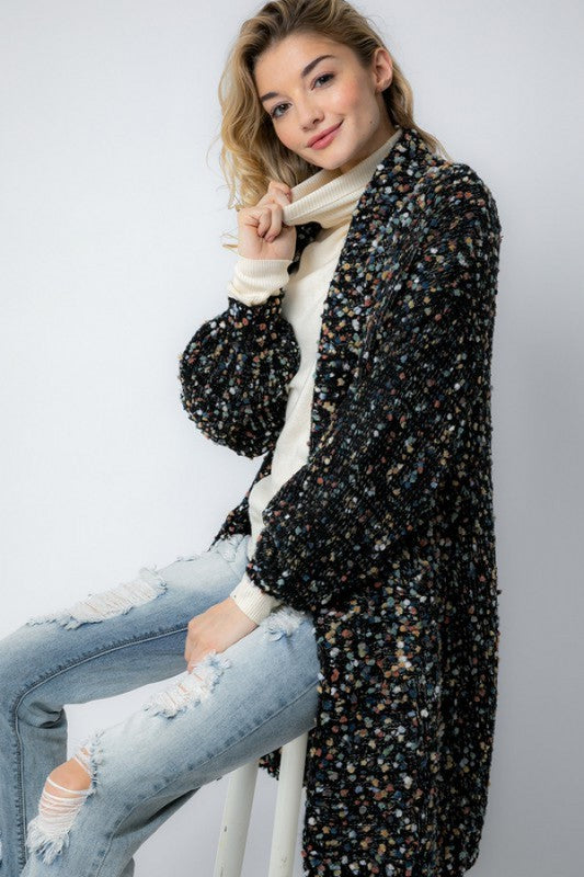 Oversized Marled Knit Cardigan Black