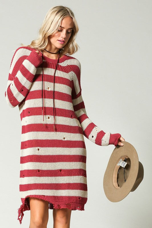 Striped Distressed Sweater Dress Marsala - Athens Georgia Women's Fashion Boutique