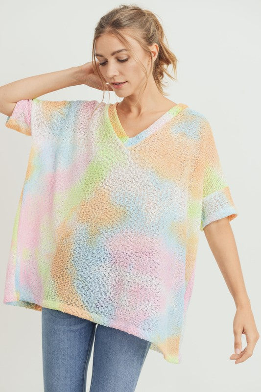 Popcorn Textured Tie Dye V-Neck Top Lime/Coral