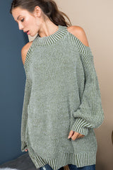 Buy Mock Neck Open Shoulder Knit Sweater Olive online at Southern Fashion Boutique Bliss