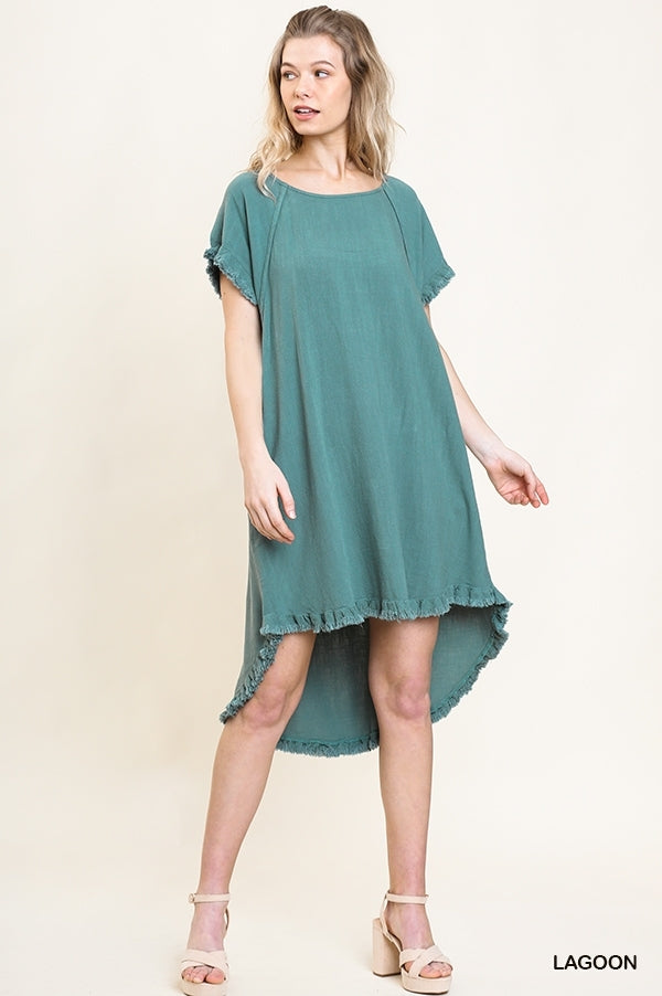 Buy Linen Blend Pocket Dress with Fringe Lagoon online at Southern Fashion Boutique Bliss