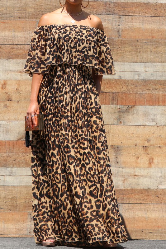 Pleated Off Shoulder Maxi Dress Leopard