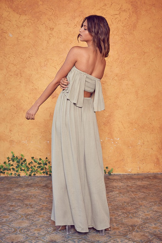Buy Open Back Tube Top Dress Silver Olive online at Southern Fashion Boutique Bliss