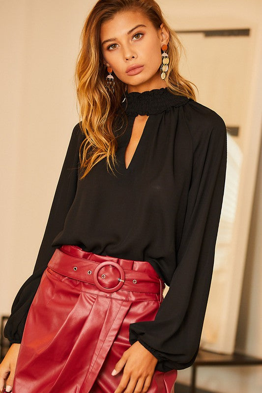 Buy Smocking Ruffle Mock Neck Top Black online at Southern Fashion Boutique Bliss