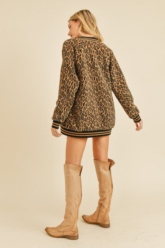 Fuzzy Leopard Bomber Jacket Brown