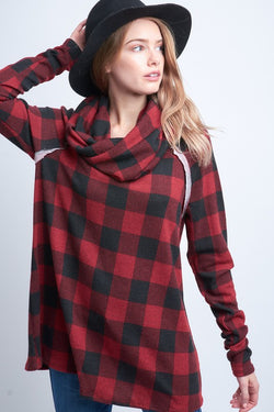 Checkered Cowl-Neck Top Red/Black