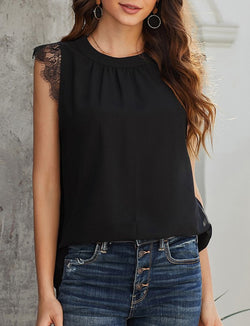 Buy Sleeveless V-Neck Lace Tank Top Black online at Southern Fashion Boutique Bliss