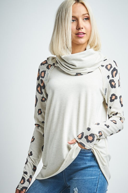 Leopard Print Sleeve Cowl Neck Top Oatmeal