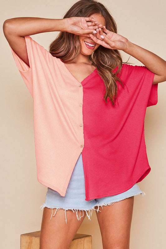 Buy Color Block Button Down Top Peach/Fuschia online at Southern Fashion Boutique Bliss