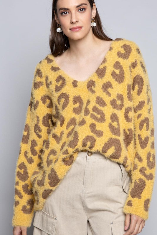 Buy Leopard Mohair V-Neck Sweater Mustard online at Southern Fashion Boutique Bliss
