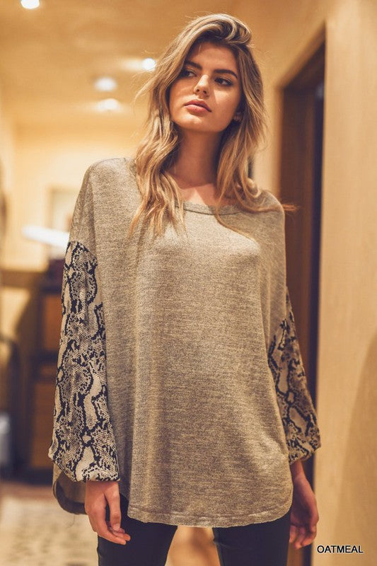 Buy Snake Bubble Sleeve Top Oatmeal online at Southern Fashion Boutique Bliss