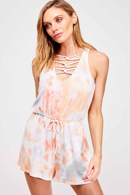 Buy Tie Dye Sleeveless Romper Grey/Coral online at Southern Fashion Boutique Bliss