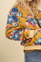 Buy Floral Print Quilted Bomber Zip Jacket Mustard online at Southern Fashion Boutique Bliss