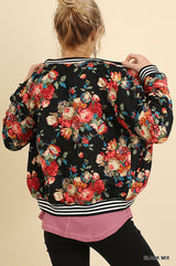 Buy Floral Print Quilted Bomber Zip Jacket Black online at Southern Fashion Boutique Bliss