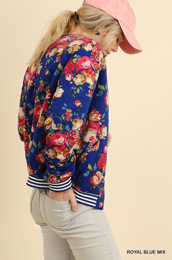 Buy Floral Print Quilted Bomber Zip Jacket Royal Blue online at Southern Fashion Boutique Bliss