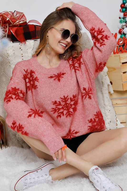 Buy Comfy Snowflake Christmas Sweater Red online at Southern Fashion Boutique Bliss