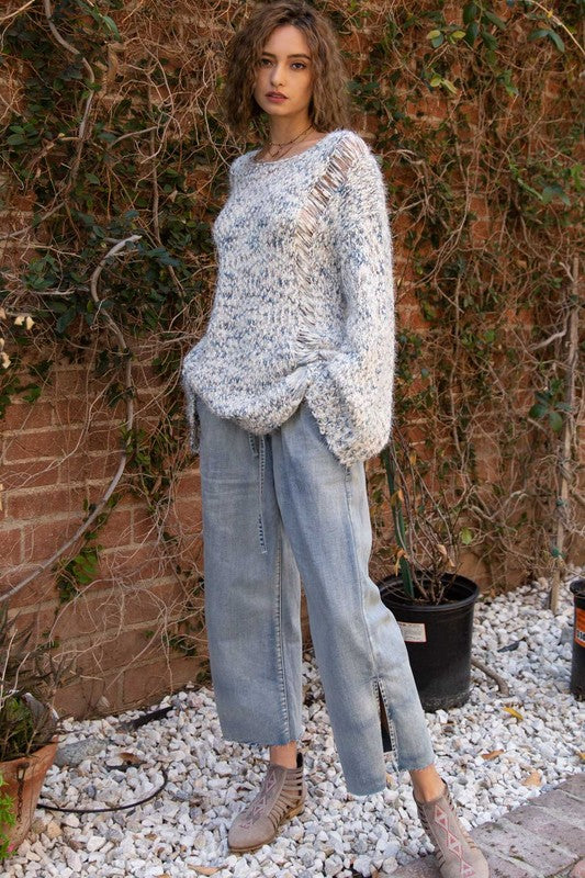 Buy Mohair 3-Tone Knitted Sweater Blue Multi online at Southern Fashion Boutique Bliss