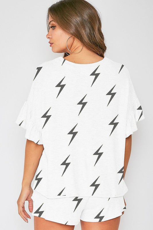 Lighting Bolt Printed Knit Top Off White